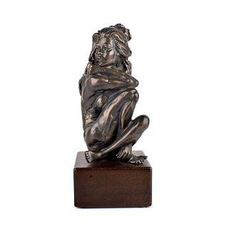 20th C. Bronze Sculpture of a Kneeling Nude