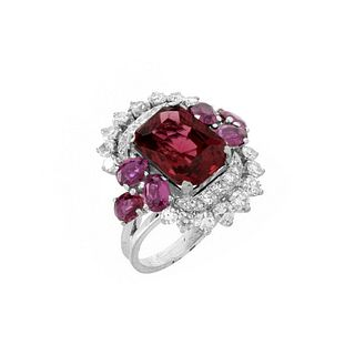 Art Deco Rubelite, Diamond and Platinum Ring