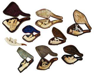 Nine Carved Animal Meerschaum Smoking Tools