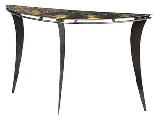 Modernist Metal Demilune Table