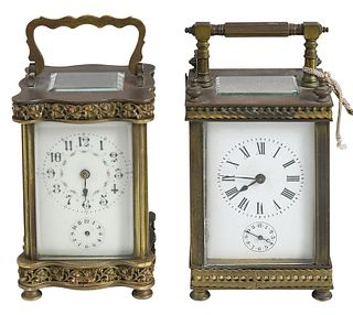 Two Aesthetic Movement French Carriage Clocks
