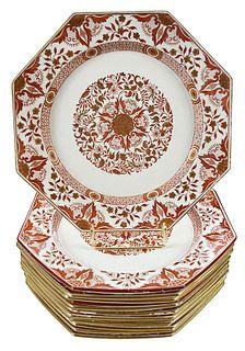 "Set of 13 Minton Octagonal ""Denmark"" Dinner Plates"