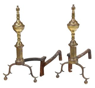 Pair New York Federal Brass Andirons