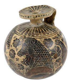Corinthian Pottery Black-Figure Aryballos