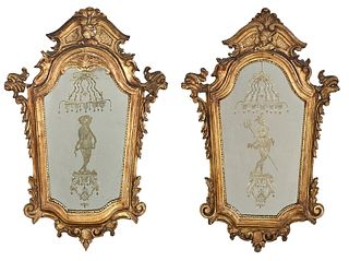 Pair of Venetian Style Carved and Gilt Mirrors