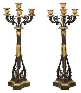 Pair Louis Philippe Bronze Three Arm Candelabra
