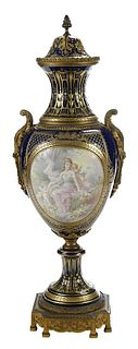 Sevres or Sevres Style Hand Painted Porcelain Urn