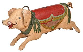 Bayol Carved and Polychrome Carousel Pig