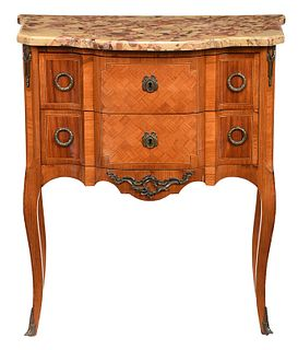 Louis XV Style Parquetry Veneered Petite Commode