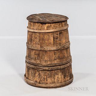 Staved Covered Wooden Barrel
