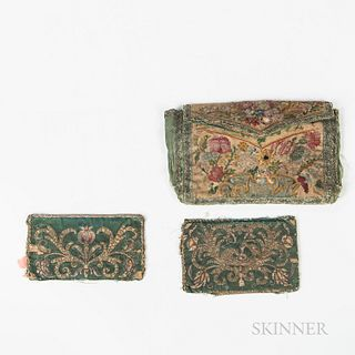 17th Century Embroidered Silk Purse and Book Cover