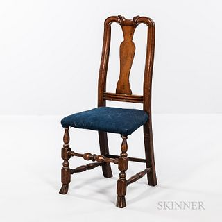Carved Maple Spanish-foot Side Chair
