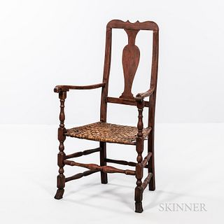 Red-painted Queen Anne Armchair