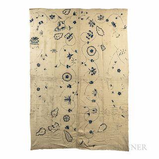 """Wool Embroidered """"Deerfield"""" Blanket"""