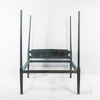 Blue-painted Pencil-post Canopy Bed