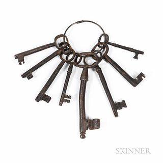 Ring of Eight Early Iron Keys