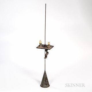 Adjustable Two-light Tin and Iron Candleholder