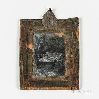 Early Wood and Embossed Paper Mirror