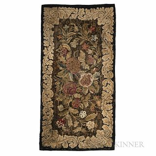 Floral Hooked Hearth Rug