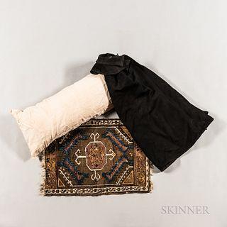 Linen Bolster, Black Cloak, and Table Rug