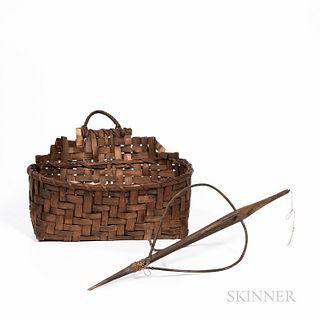 Splint Loom Basket and Distaff