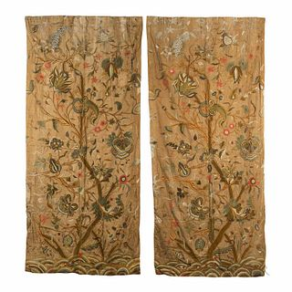 Two Tree of Life Pattern Crewelwork Curtain Panels