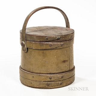 Green/gray-painted Covered Pail