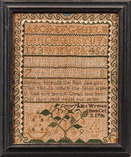 """Needlework Sampler """"Alice Wyman,"""""""