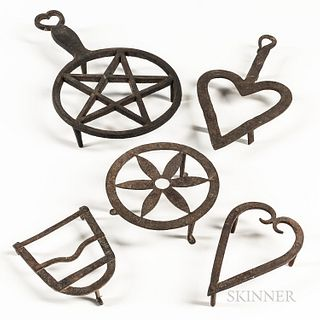Five Cast and Wrought Iron Trivets