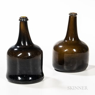 Two Mallet-form Blown Glass Bottles