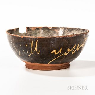 Glazed and Yellow Slip-decorated Redware Bowl