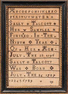 """Needlework Sampler """"Sally Talcott,"""""""