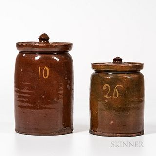 Two Glazed and Covered Redware Jars Numbered in Yellow Slip