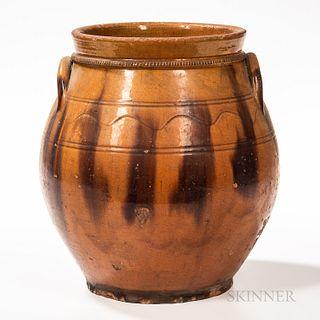 Large Glazed Redware Jar