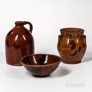 Three Pieces of Glazed Redware