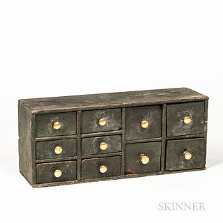 Green-painted Pine Ten-drawer Spice Box