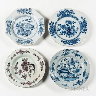 Four Tin-glazed Plates