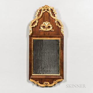 Walnut Veneer and Gilt-gesso Mirror