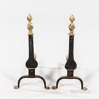Cast Brass and Wrought Iron Knife-blade Andirons