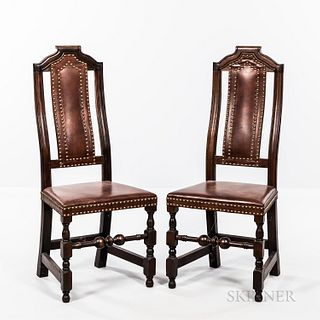 Pair of William and Mary-style Crooked-back Leather Chairs