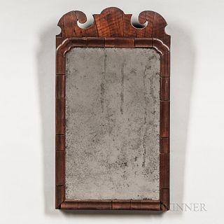 Queen Anne Walnut Veneer Scroll-frame Mirror