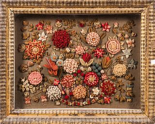 Floral Woolwork Picture in a Ripple-molded Shadow Box Frame