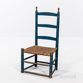 Blue-painted Slat-back Side Chair
