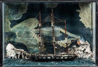 Carved and Painted Diorama of a Vessel in an Arctic Scene