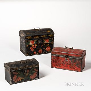 Three Paint-decorated Tin Boxes