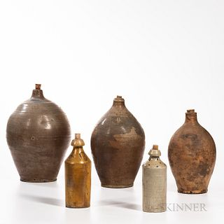 Three Stoneware Jugs and Two Stoneware Beer Bottles