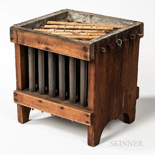 Large Wood and Tin Thirty-six-candle Mold