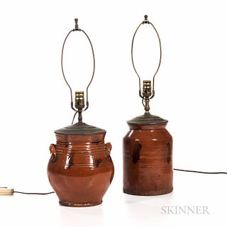 Two Manganese-decorated Redware Jars Mounted as Lamps