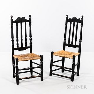 Two Black-painted Bannister-back Side Chairs