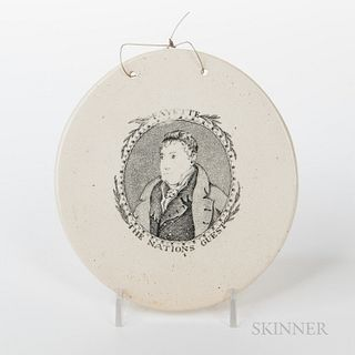 """Ceramic Plaque of Lafayette """"Fayette/The Nations Guest,"""""""